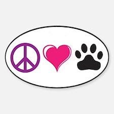 Peace, Love, Paws Custom Decal