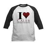 I Heart Caleb Kids Baseball Jersey