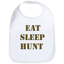 EAT SLEEP HUNT 001 brown Bib