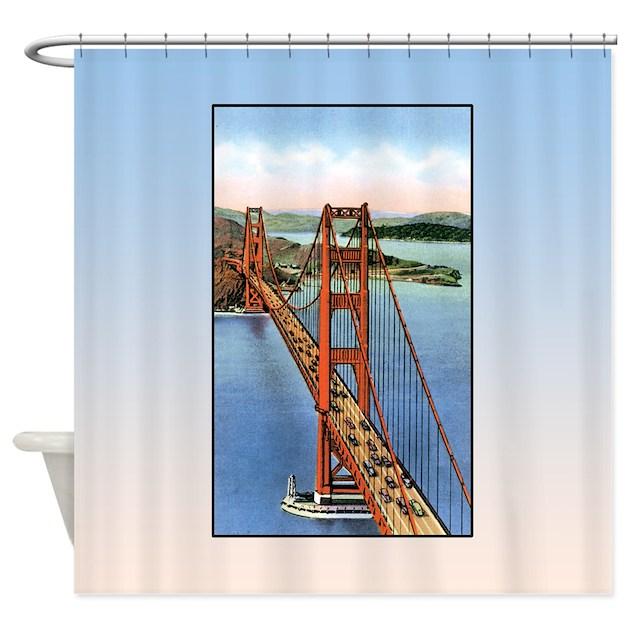 Vintage golden gate bridge shower curtain by america tshirts for Golden gate bridge jewelry