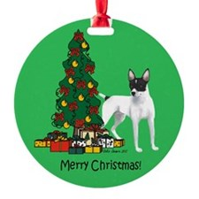 Rat Terrier Round Christmas Ornament