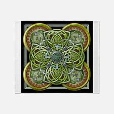 Green Celtic Tapestry Throw Blanket