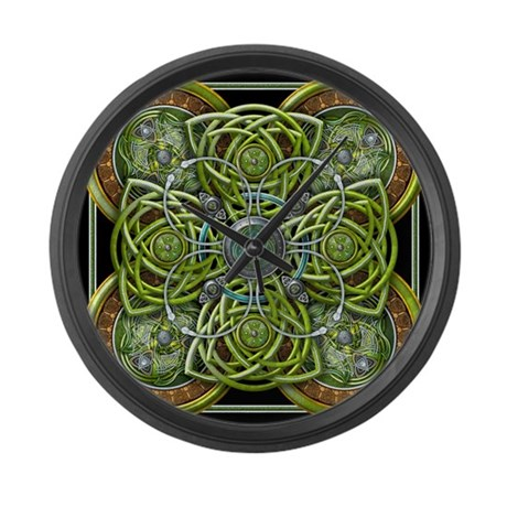 Green Celtic Tapestry Large Wall Clock