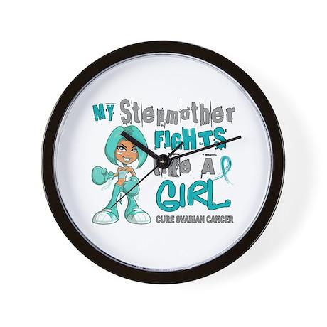 Fights Like a Girl 42.9 Ovarian Cancer Wall Clock