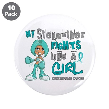 """Fights Like a Girl 42.9 Ovarian Cancer 3.5"""" Button"""