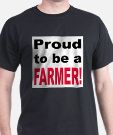 Proud Farmer (Front) Black T-Shirt