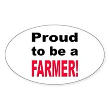 Proud Farmer Oval Decal