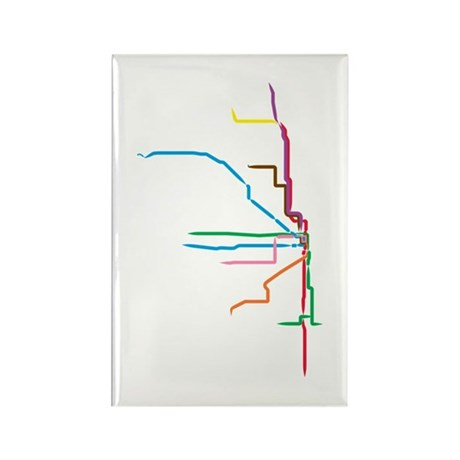 Painted Chicago El Map Magnets