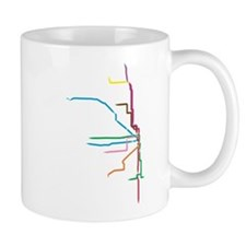Painted Chicago El Map Mugs