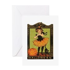VINTAGE HALLOWEEN GIRL AND PUMPKIN Greeting Card