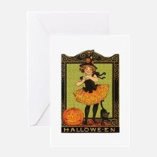 VINTAGE HALLOWEEN GIRL AND PUMPKIN Greeting Card