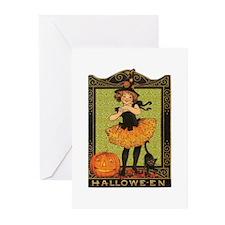 VINTAGE HALLOWEEN GIRL AND PUMPKIN Greeting Cards