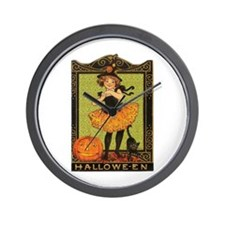 VINTAGE HALLOWEEN GIRL AND PUMPKIN Wall Clock