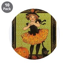 "VINTAGE HALLOWEEN GIRL AND PUMPKIN 3.5"" Button (10"