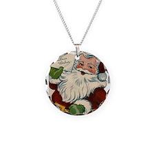 Vintage Santa Claus Necklace Circle Charm
