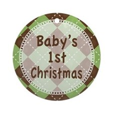 Green Argyle Baby's 1st Christmas Ornament (Round)