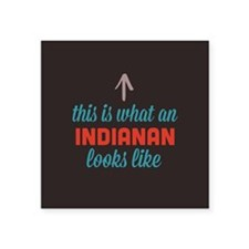 "Indianan Looks Like Square Sticker 3"" x 3"""