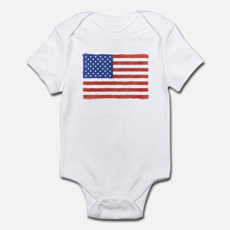 Watercolor USA Flag: Infant Creeper