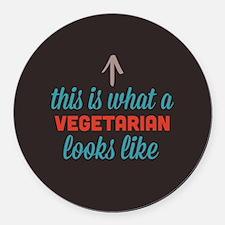 Vegetarian Looks Like Round Car Magnet