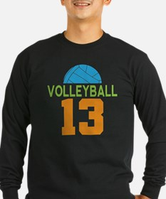 Volleyball Player Number 13 Long Sleeve T-Shirt