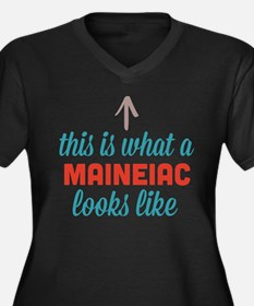 Maineiac Looks Like Women's Plus Size V-Neck Dark