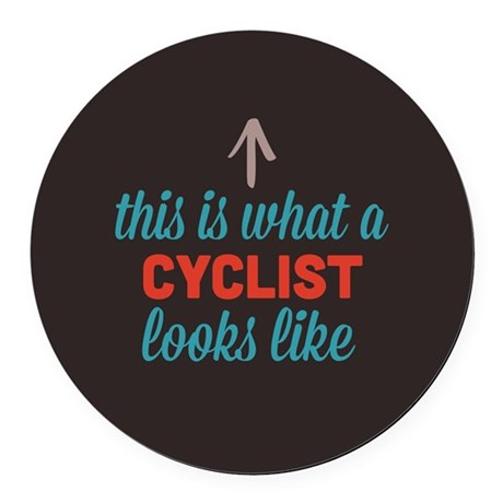 Cyclist Looks Like Round Car Magnet