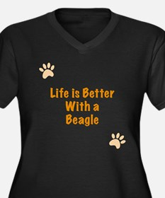 Life is better with a Beagle Women's Plus Size V-N
