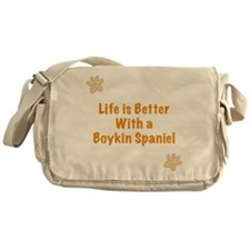 Life is better with a Boykin Spaniel Messenger Bag