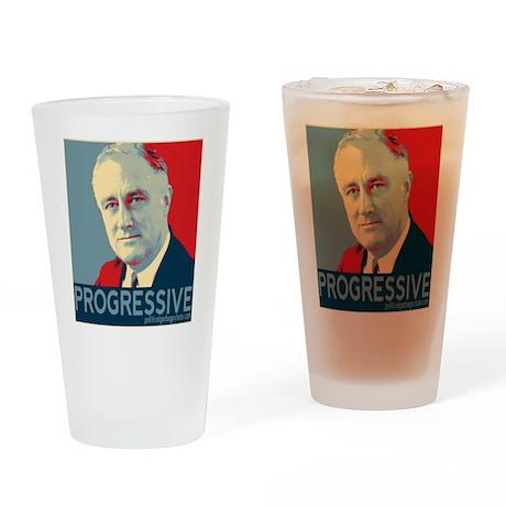 "FDR - ""PROGRESSIVE"" Drinking Glass"