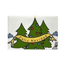 Feliz Navidad Christmas Trees With Birds and Bunny