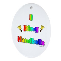 I Ring Handbells Oval Ornament