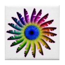 Angel Feathers Flower Tile Coaster