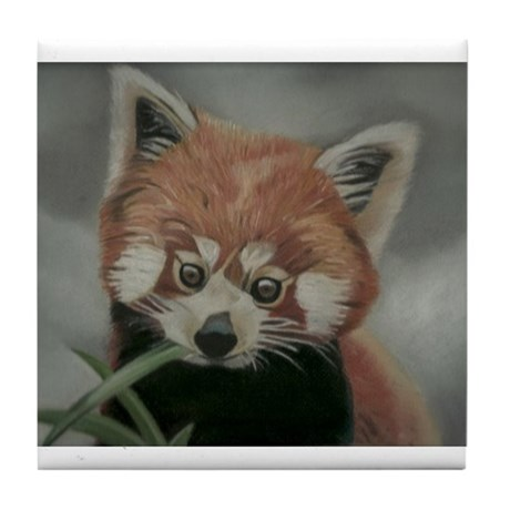 Red Panda - Painting Done in Pastels Tile Coaster