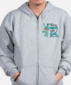 Fights Like a Girl 42.9 Ovarian Cancer Zip Hoodie