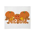 Halloween Pumpkin Nichole Throw Blanket