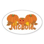 Halloween Pumpkin Nichole Sticker (Oval)