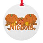 Halloween Pumpkin Nichole Round Ornament