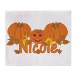 Halloween Pumpkin Nicole Throw Blanket