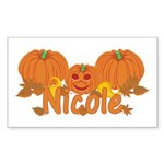 Halloween Pumpkin Nicole Sticker (Rectangle)