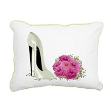 Wedding Stiletto Shoe and Roses Rectangular Canvas