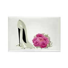 Wedding Stiletto Shoe and Roses Rectangle Magnet