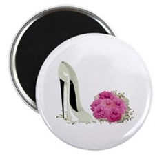 "Wedding Stiletto Shoe and Roses 2.25"" Magnet"