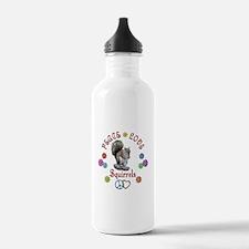 Peace Love SQUIRRELS Water Bottle