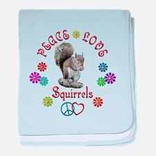 Peace Love SQUIRRELS baby blanket