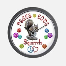 Peace Love SQUIRRELS Wall Clock
