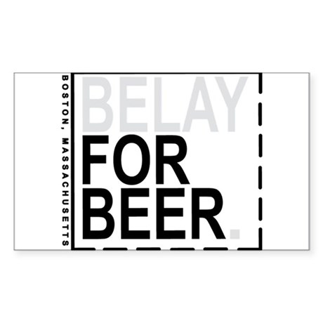 Belay For Beer. Sticker (Rectangle)