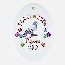 Peace Love PIGEONS Ornament (Oval)