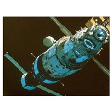 Mir space station in orbit seen from Soyuz Framed Print