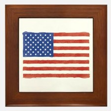 Watercolor USA Flag: Framed Tile