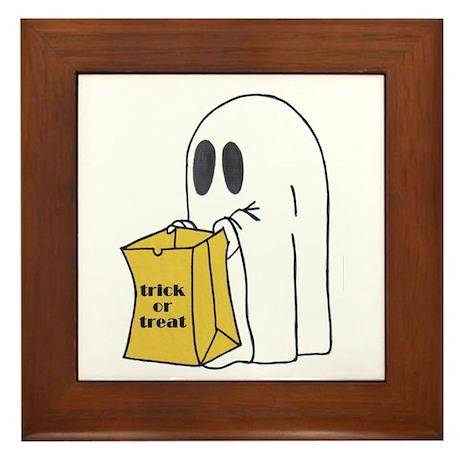 Trick or Treat Ghost Framed Tile